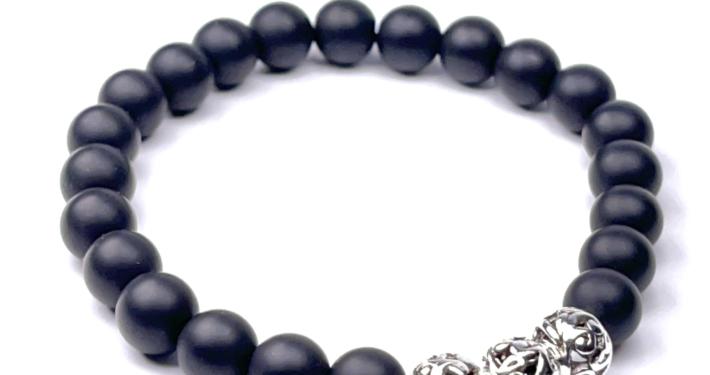 IMG 8875 Armband GABUDIA Onyx matt echt Silber Armband